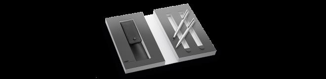 LAMY logo brushed Set Druckbleistift / Kugelschreiber mit Lederetui 106/206